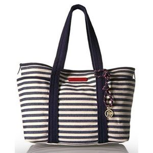 Tommy Hilfiger Dariana Navy & White Striped Tote